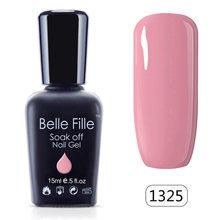 Belle Fille 15 ml Neon Fluorescência de Cor Embeber Off Gel Unha Polonês UV Rosa Verde Vernizes de Gel Da Arte Do Prego Vernis semi Permanente(China)