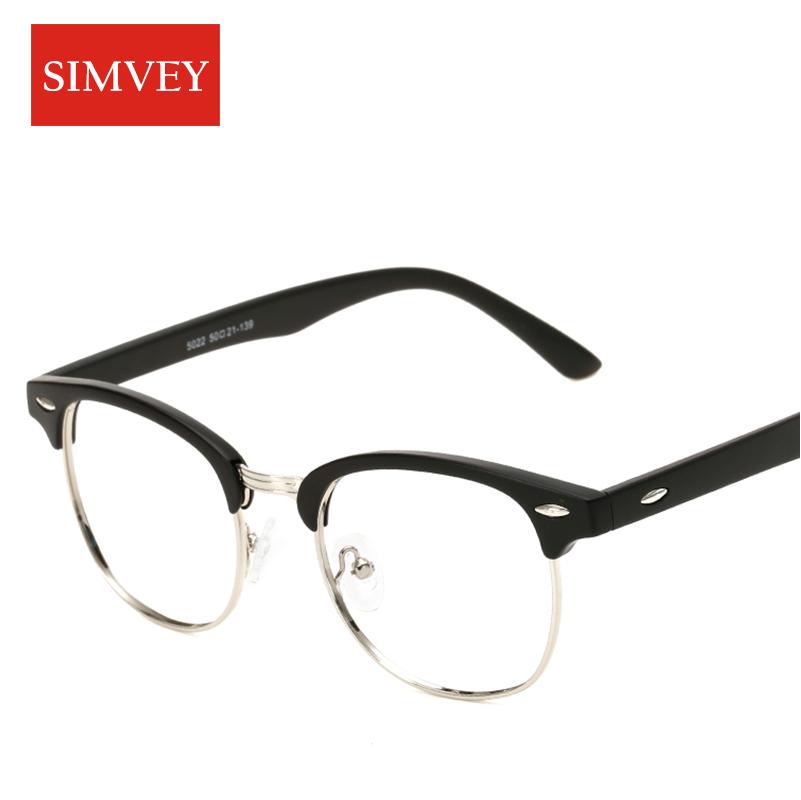simvey classic half rim glasses frames women men brand designer retro clear lens nerd frames glasses