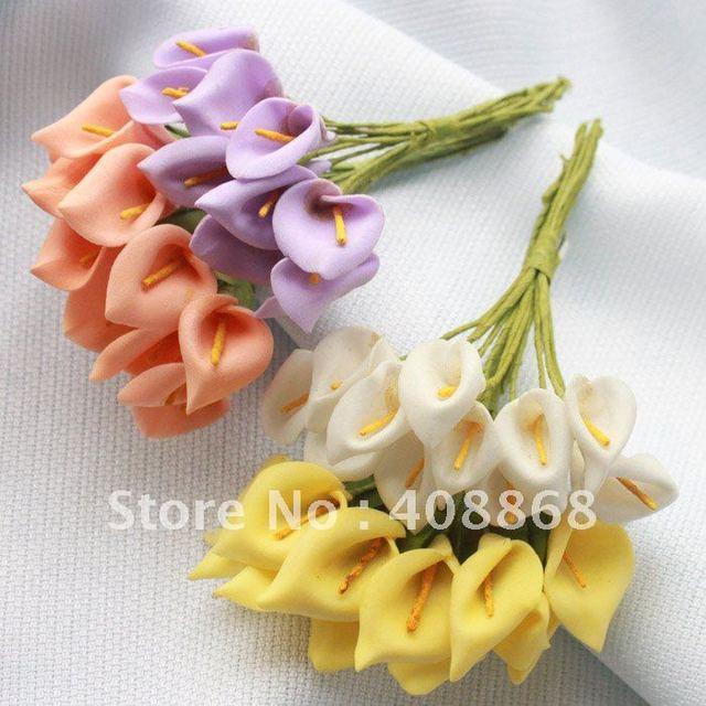 480pc Foam 4colors Mini Calla Lily Flower Wedding Favor Decor Scrapbooking wholesale/ retail Free Shipping