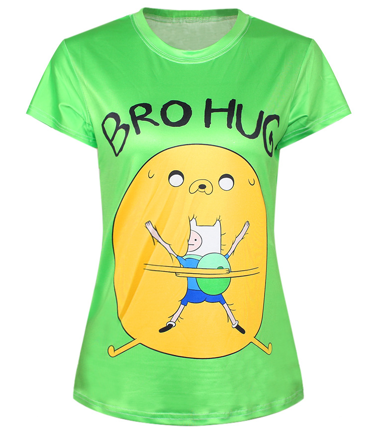 T Shirts Cartoon Characters : Green print t shirt adventure time popular bro hug