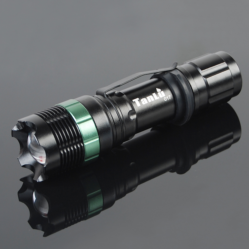 Exploration dew TL-Q7 rechargeable flashlight long-range outdoor zoom CREE belt clip Free shipping(China (Mainland))