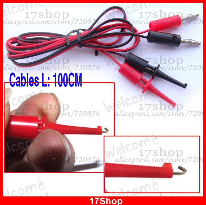 Test Hook to banana plug Cable Grabbers Probes IC 100cm(China (Mainland))