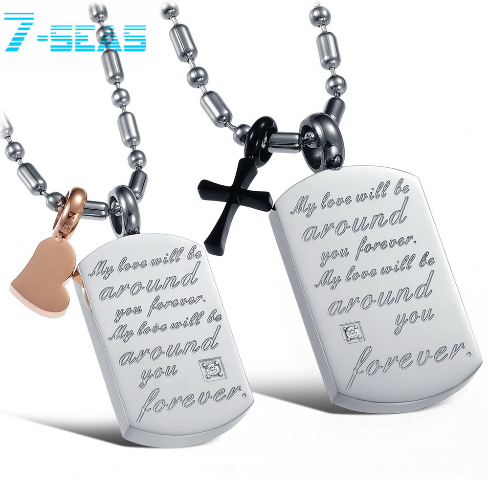 7-SEAS JEWELRY 2015 New Fashion Couple Stainless Steel Chain Necklaces Black Cross & Gold Heart Pendants Forever Love,GX821 - 7seas Jewelry Worldwide Mall store