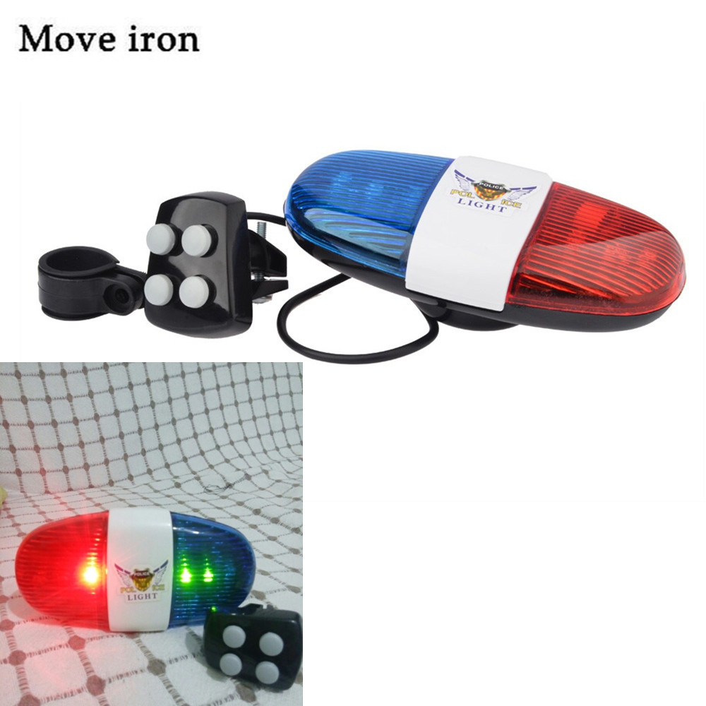 Bicycle Bell 6LED 4Tone Bicycle Horn Bike Call Police Car LED Bike Light Electronic Siren Kids Accessories for Bike Scooter(China (Mainland))