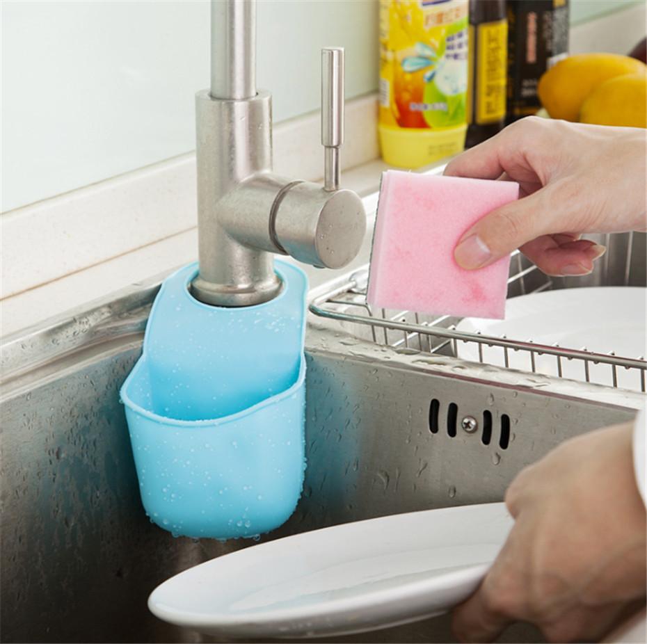 2015 Creative Kitchen Folding Hanging Silicone Towel Soap Rack Bathroom Gadget Baskets Storage Box(China (Mainland))