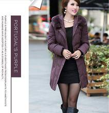 new 2013 women mother clothing winter medium long thick warm Slim plus size rex Rabbit fur collar duck down jacket XL-5XL D2149