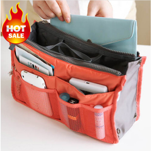 Bag In Bag Double Zipper Portable Multifunctional Travel Pockets Handbag Storage Bag Fadish Travel Cosmetic Makeup Wash Bag(China (Mainland))