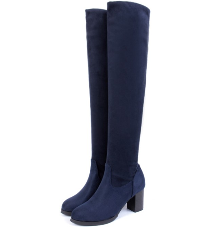 thigh high boots blue black suede slip the knee