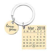 Venta del Día del Padre personalizado calendario llavero personalizado aniversario hombres creativo trabajo manual Llaveros boda regalo de cumpleaños(China)