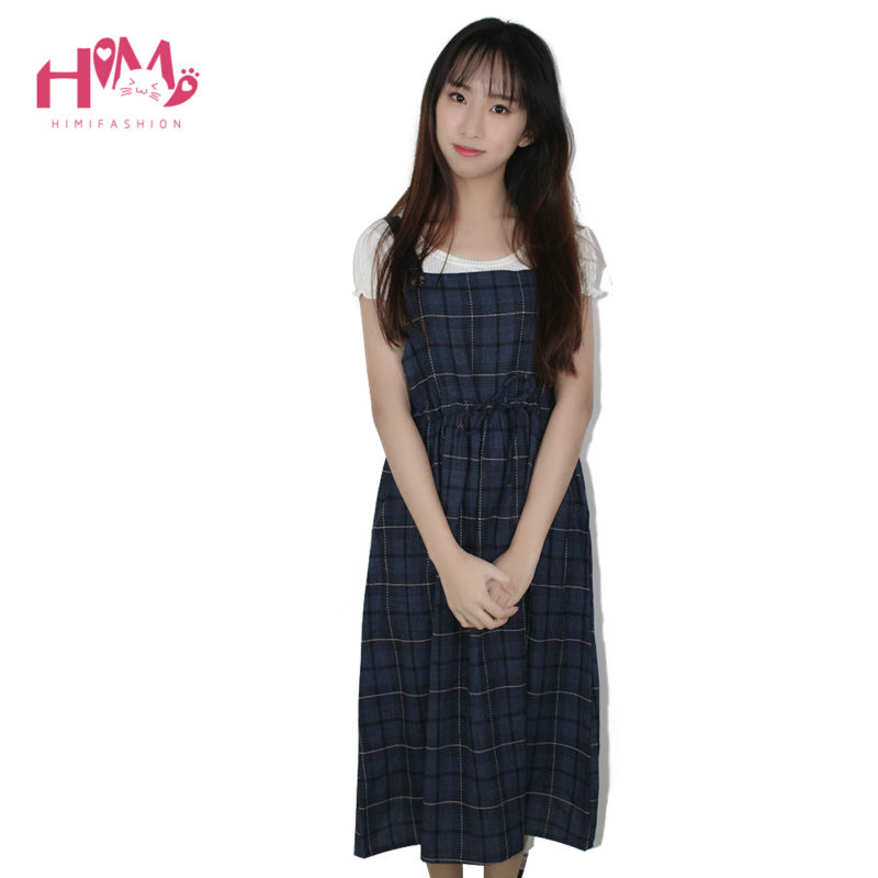Vintage autumn new collection plaid non sleeve dress mori girl fresh square collar all match spaghetti strap women dress