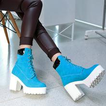 Frauen Plattform Stiefel Flock Platz High Heels Stiefeletten Lace Up Herbst Winter Mode Damen Schuhe Plus Größe 2018 Neue(China)