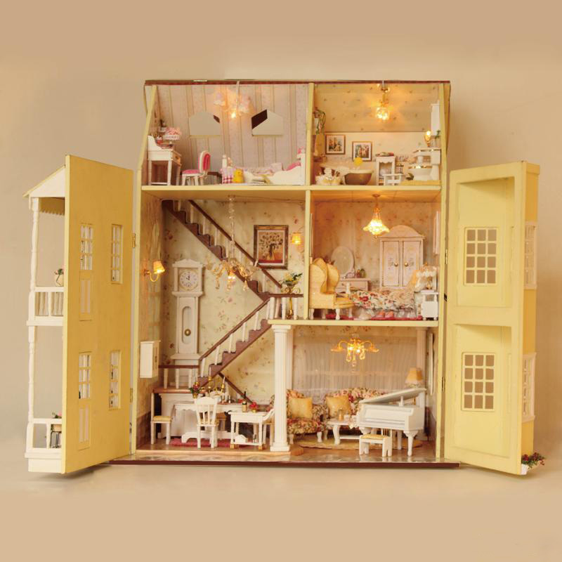 Large Diy Doll House Handmade Villa 3D Miniature Wooden