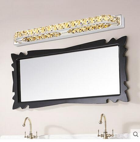 Фотография 14W 560MM LED mirror light K9 Crystal Bathroom lens headlight stainless steel bathroom mirror lamp AC 85V~265V