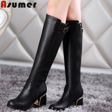 Plus size 34-49 new arrive sexy women Knee high Boots Woman shoes high heels Fashion winter leather Snow Motorcycle boots(China (Mainland))
