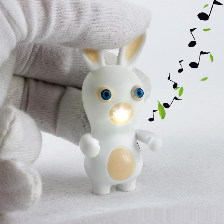New LED Flashlight Keychina with Sound Action Toy Figures Raving Rabbids Keychain Toys Gift For Child Kids Toys(China (Mainland))