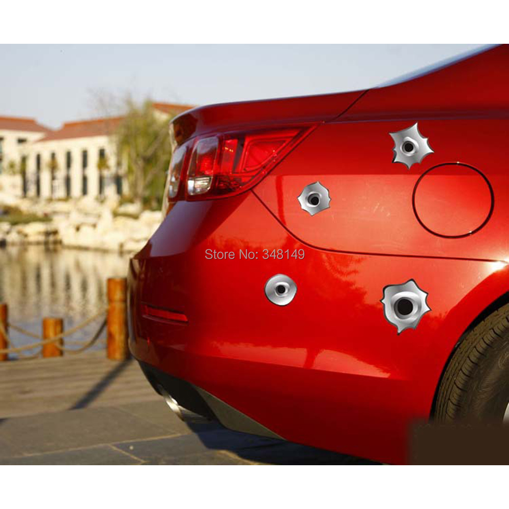 12 x Funny Simulation Gun Bullet Hole Stickers Car Decal for Toyota Chevrolet cruze Volkswagen skoda