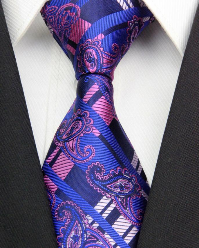 NT0380 Royal Pink Paisley Man s New Fashion Jacquard Woven Silk Polyester Tie Classic Business Party
