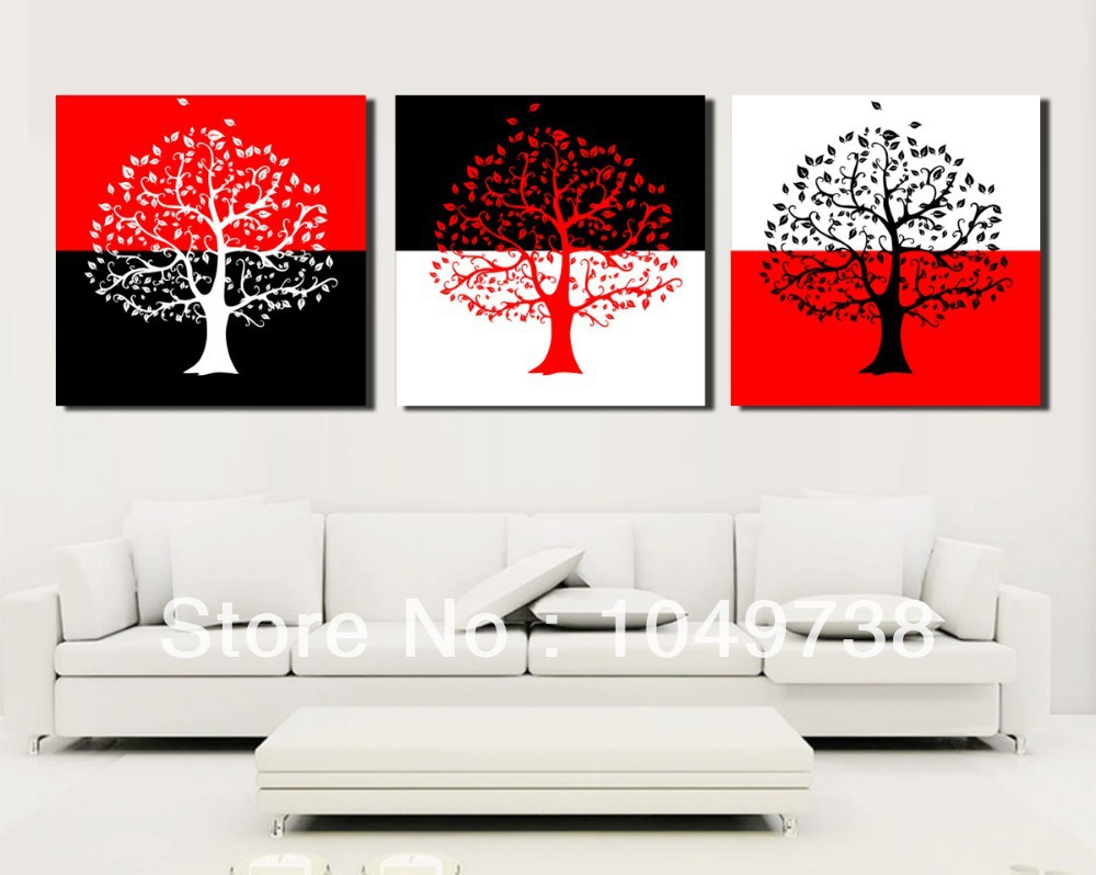 Free shipping 3 piece canvas wall art black and red wall for White wall decor