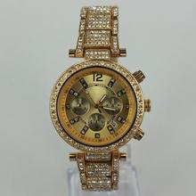 China air express hot women rhinestone dress watches analog quartz ladies full steel wristwatches 18k gold