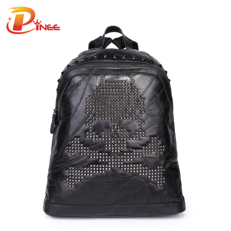 Korean Style Design Rivets Skull Women Bags Genuine Leather Backpacks For Teenage Girls School Bags<br><br>Aliexpress