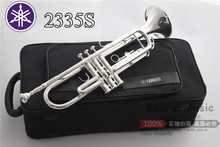 Free Shipping New Bach Brass Trumpet YTR-2335S Bb Silver Plated Trompeta Profissional Instrumentos Case Mouthpiece(China (Mainland))