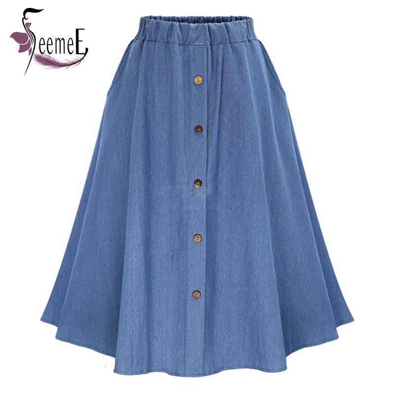 seemee summer casual denim skirts pleated tutu buttons designer vetement femme retro elastic. Black Bedroom Furniture Sets. Home Design Ideas