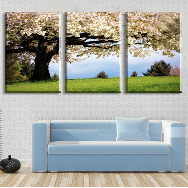 3 Piece Art Oil Canvas Romantic Wall Tree Picture Painting Green Large Pictures Living Room - Home Decor store