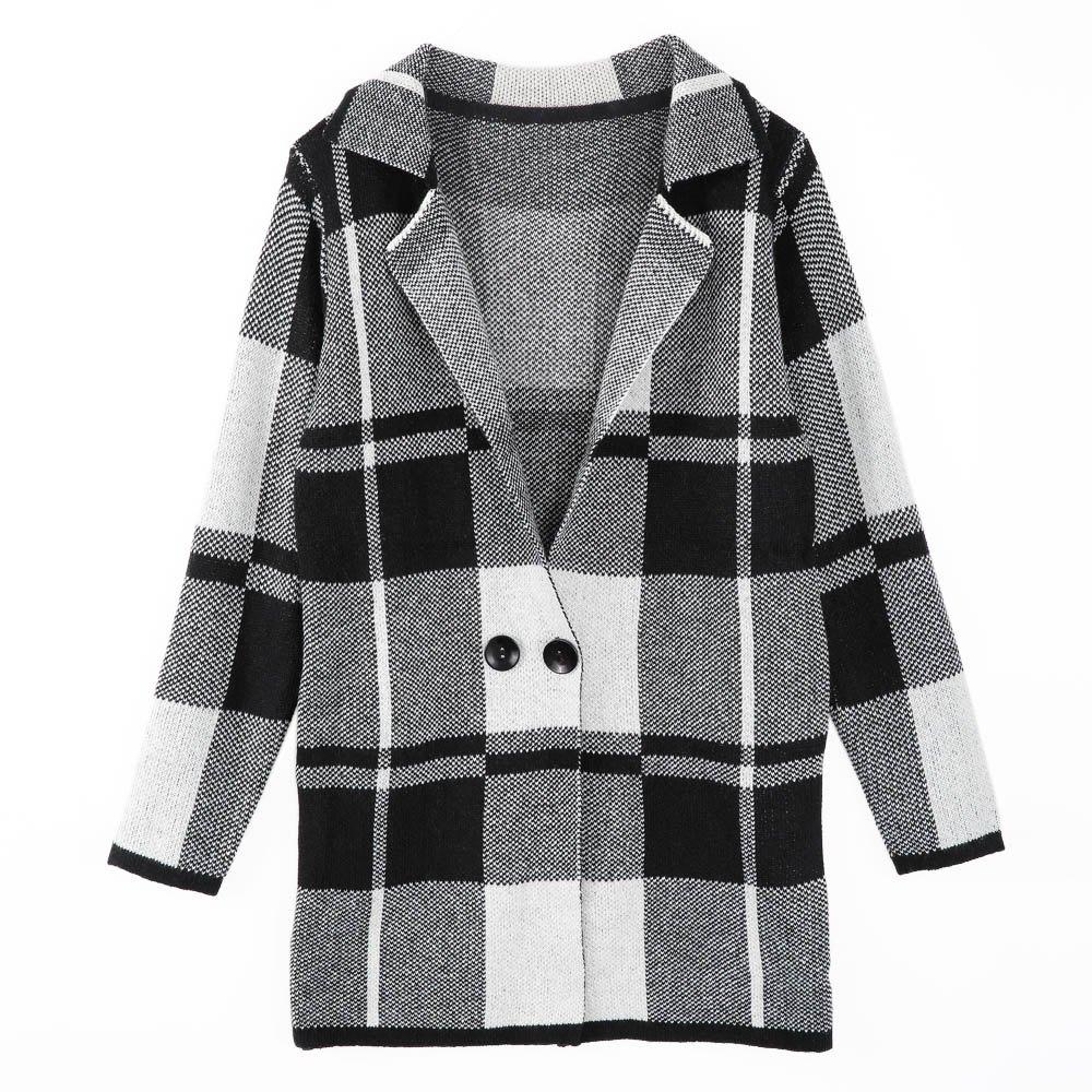 Simple Design Turn Down Collar Long Sleeve font b Tartan b font Cardigan For Women