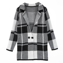 Simple Design Turn-Down Collar Long Sleeve Tartan Cardigan For Women