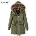 XANNEY Long Thick Warm Velet Linning Detachable Fox Fur Hood Slim Waist Women Parka Coat Winter