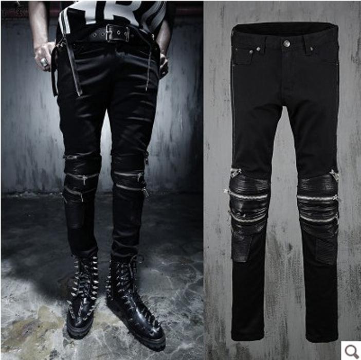 2016 New Fashion Mens Designer Skinny Jeans Zipper Biker