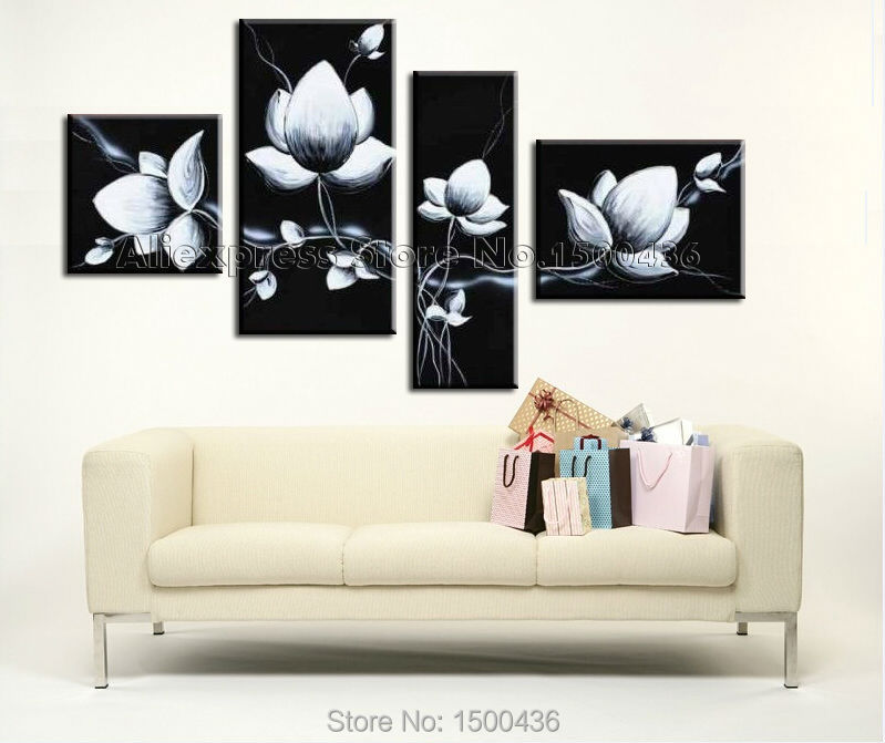 hand painted abstract orchid oil painting flowers 4 piece. Black Bedroom Furniture Sets. Home Design Ideas