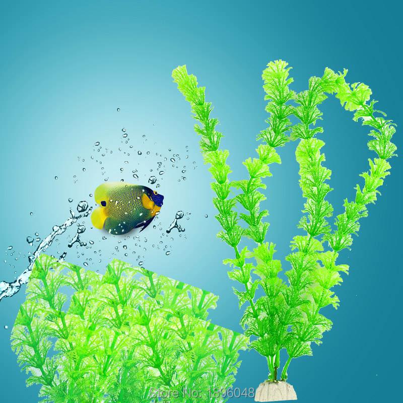 Aquarium plastic grass water plant fish tank decor green for Green water in fish tank