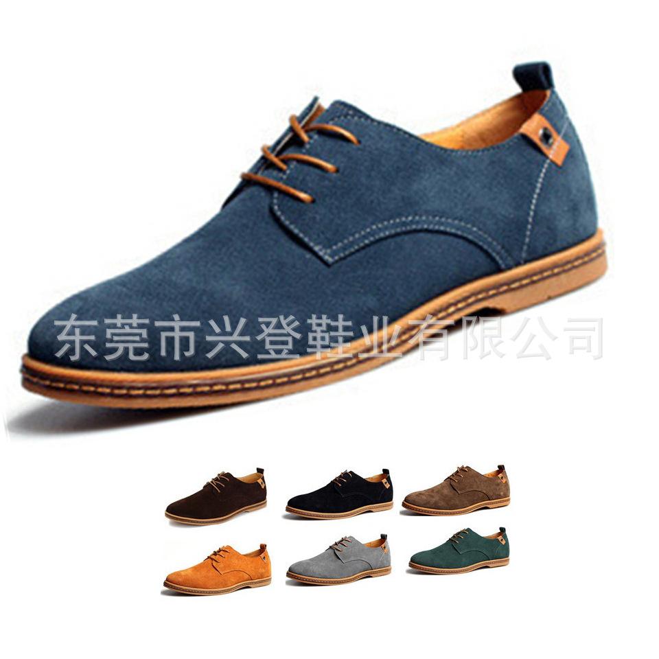 Гаджет  Men Fashion Shoes 2015  Men Suede Large Plus size 14,15,16  Lace-up Flat Solid Casual Shoes Mens Shoes Suede None Обувь
