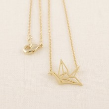 Buy Jisensp Fashion Classic Lovely Origami Crane Chain Pendant Necklaces Women Simple Origami Bird Animal Couple Necklace N006 for $1.41 in AliExpress store