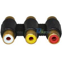 Высокое качество новое позолоченные F F 3RCA кабель столяр муфта компонентный адаптер