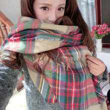 High Quality Lady Women Cozy Mini Blanket Oversized font b Tartan b font Scarf Twine Shawl