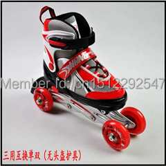 Roller skates Inline skating double row wheel swaps Multi-functional adjustable roller skating beginners to use Men and women(China (Mainland))