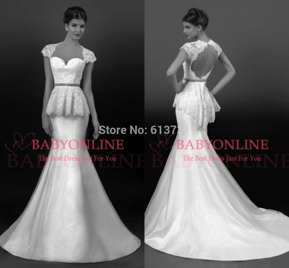 New arrival sexy short sleeve sweetheart lace applique for Short open back wedding dresses