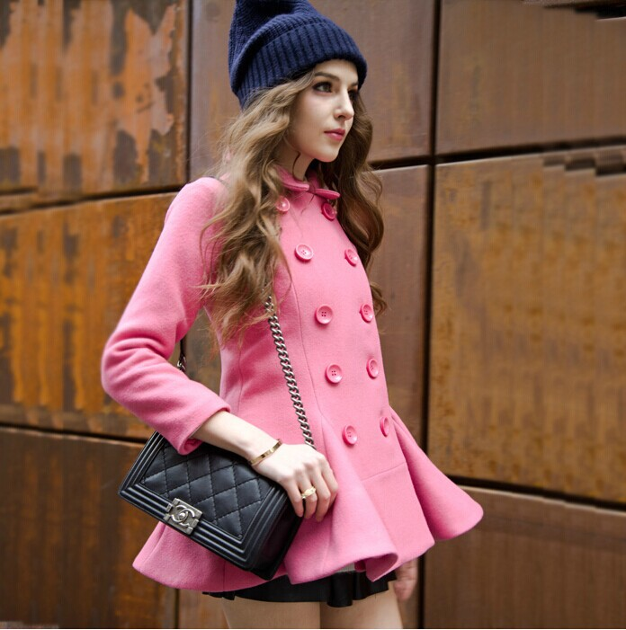 New Winter Womens Double-breasted Woolen Coat Female Retro Pink Coats Flounced Cheap China Clothes(China (Mainland))
