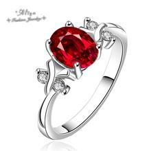 2015 new Hot Sale Fashion brand jewelry ruby CZ diamond silver plated Wedding engagement ring for women Free Shipping