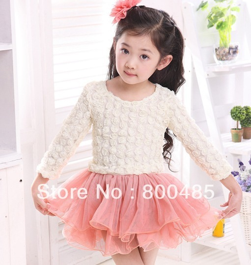 2013 Autumn new design hot sale Korean fashion girls roses gauze long-sleeved Princess Dress Children dress