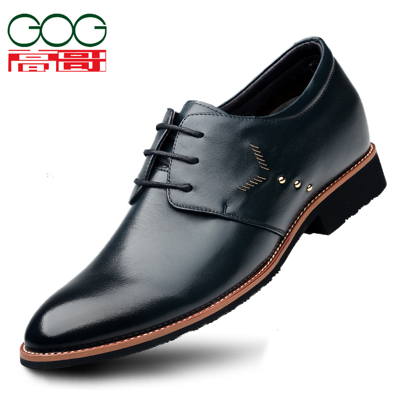 Men's elevator shoes leather male business casual genuine spring autumn 815102 - GOG Heighten store