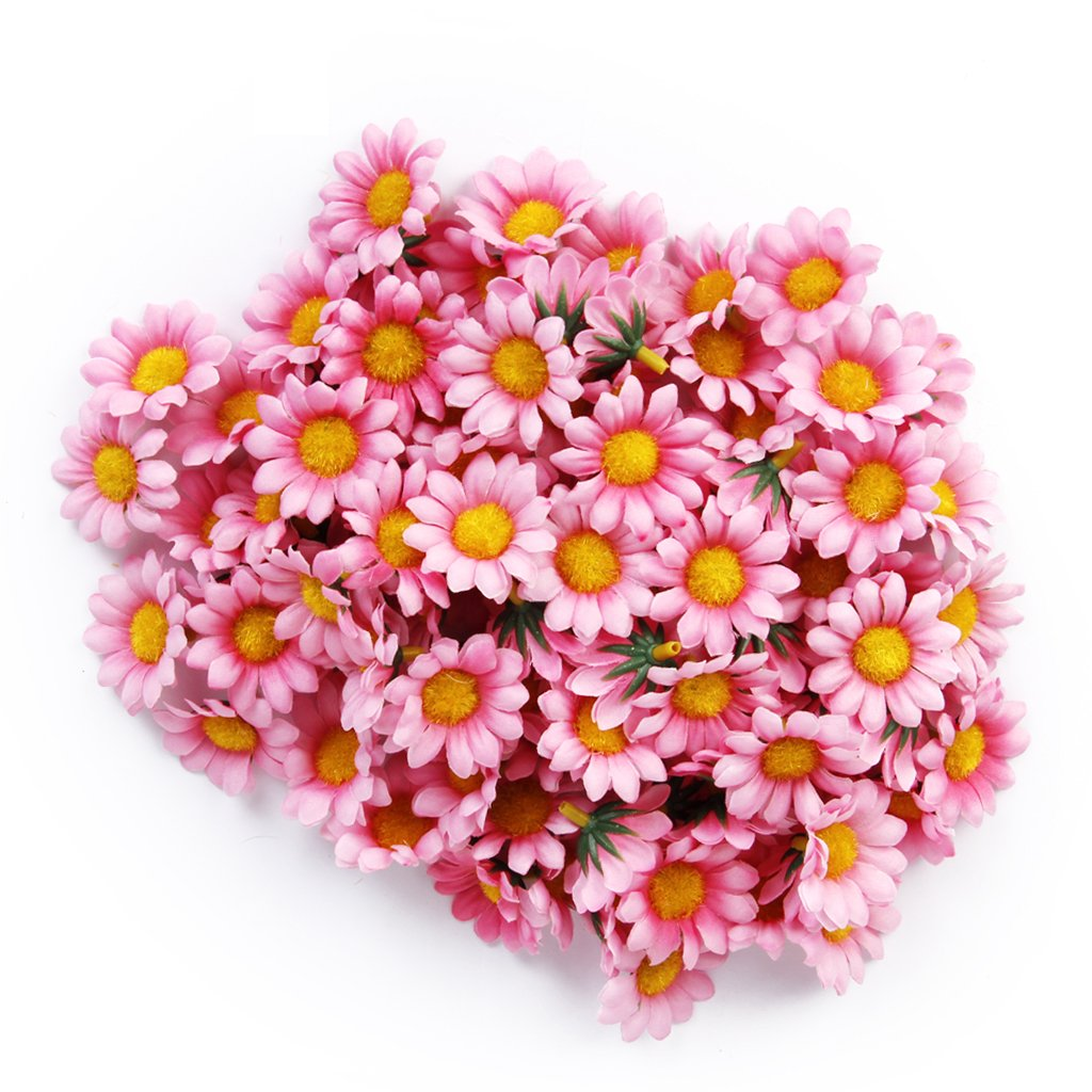 Boutique 100pcs Artificial Daisy Flowers Heads for Wedding Party (Light Pink)(China (Mainland))