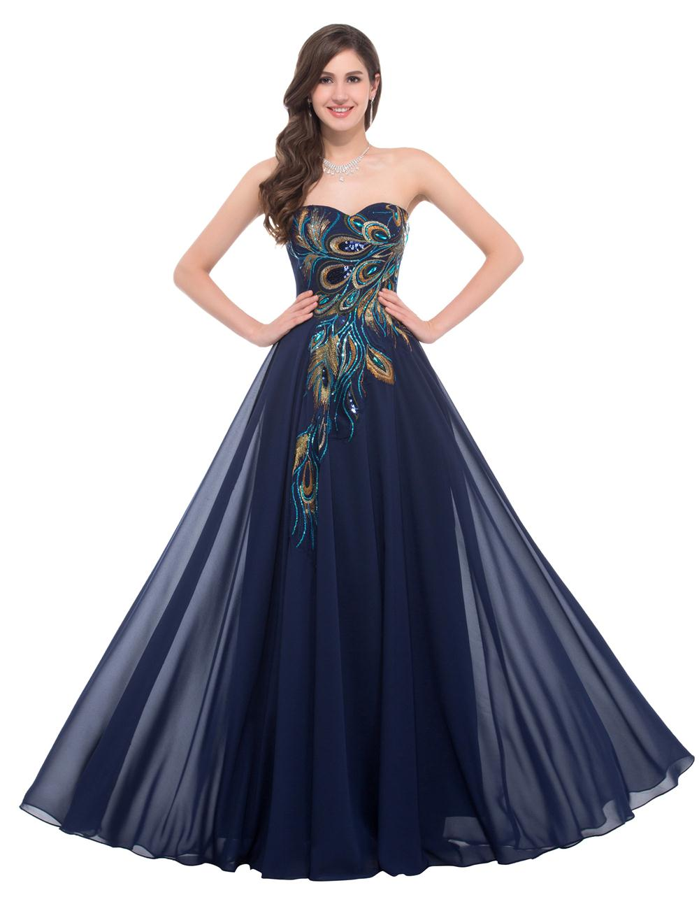 2016 navy blue cheap long peacock bridesmaid dresses grace for Blue wedding dresses plus size