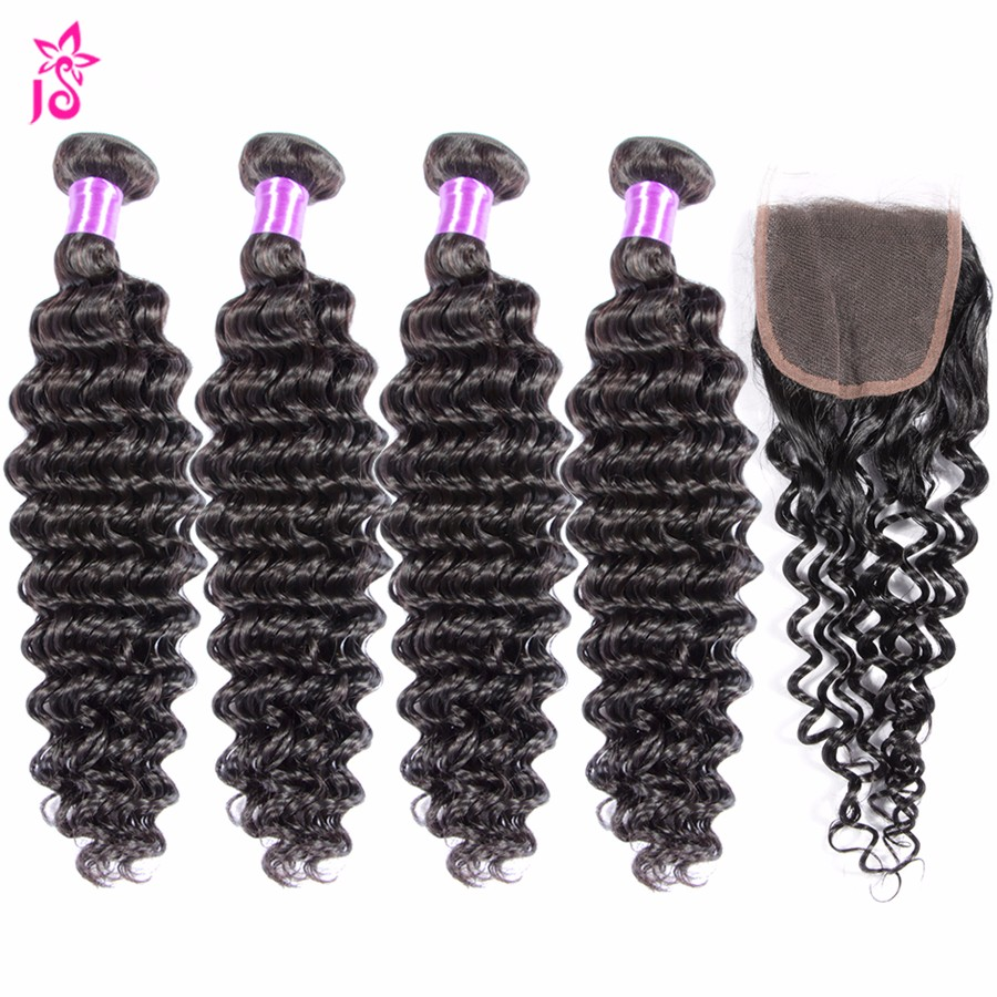 8a Unprocessed Peruvian Deep Wave With Closure Cheap Human Deep Curly Weave Virgin Hair Extensions 3 Bundles With Lace Closures