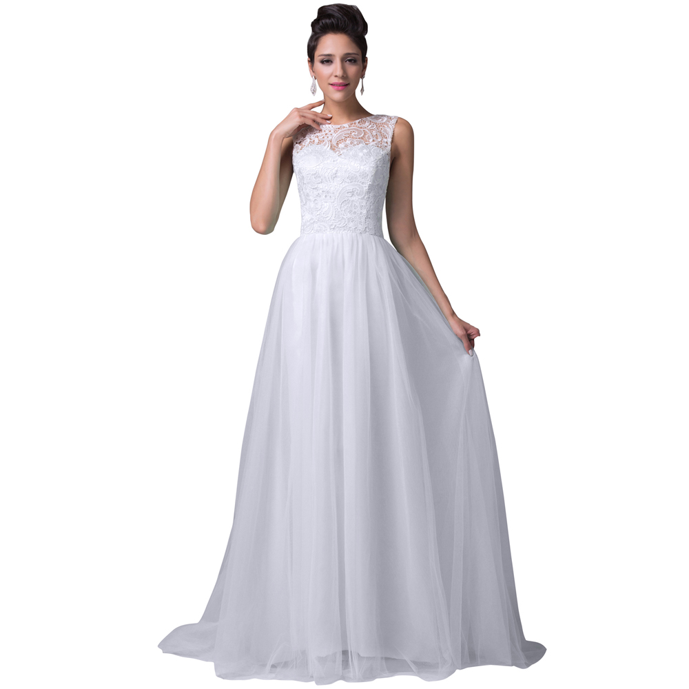 Grace Karin White Evening Dresses Abendkleider Women Lace Mother Bride Formal Gown Long Prom Dress 6108 - Co. Limited store
