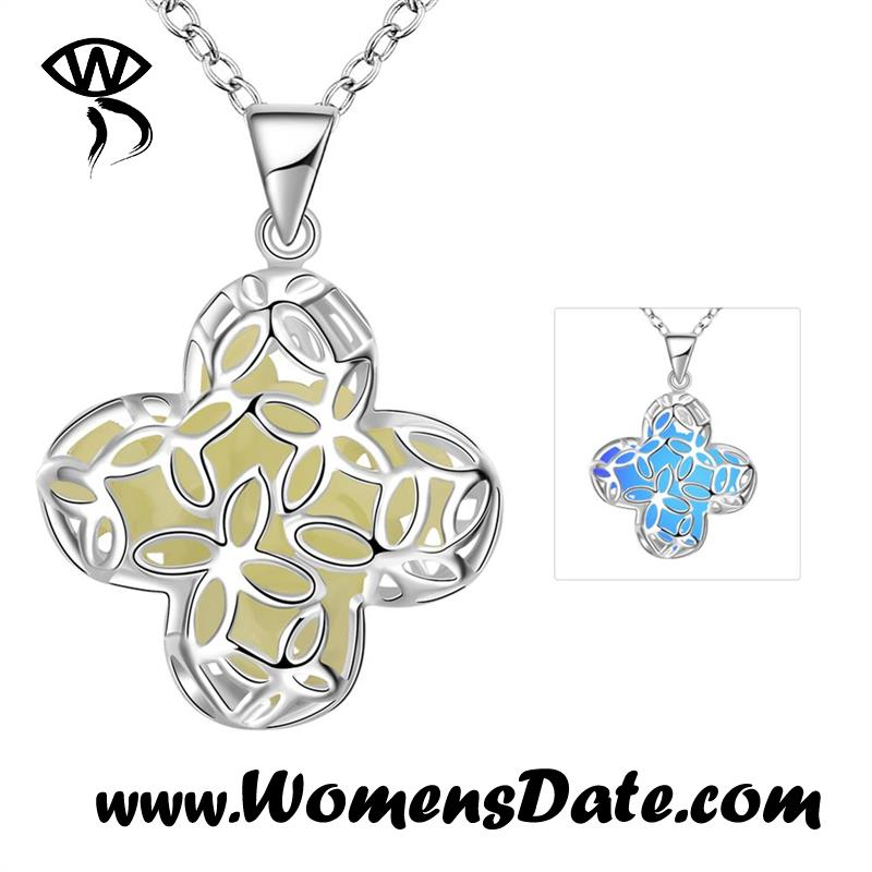WomensDate Hot Sale New Fashion Blue Noctilucent Four Leaf Clover Pendant Silver Plated Necklace For Women Jewelry With Gift Box(China (Mainland))