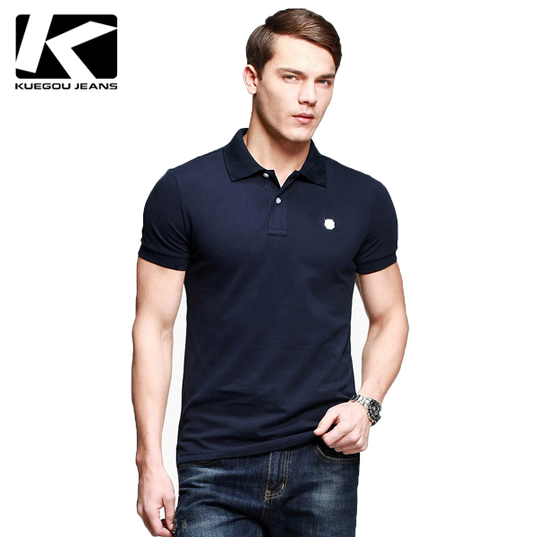 Men 39 s short sleeve polo shirt kuegou polo top quality for Best quality polo shirts for men