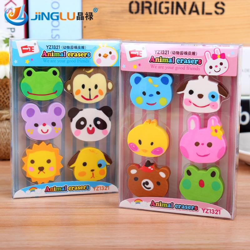 6 Pcs / Pack  Rubber Erasers Kawaii Zoo Kid Gift School Supplies Stationery